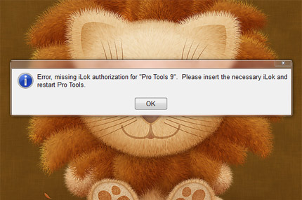 Error, missing iLok authorization